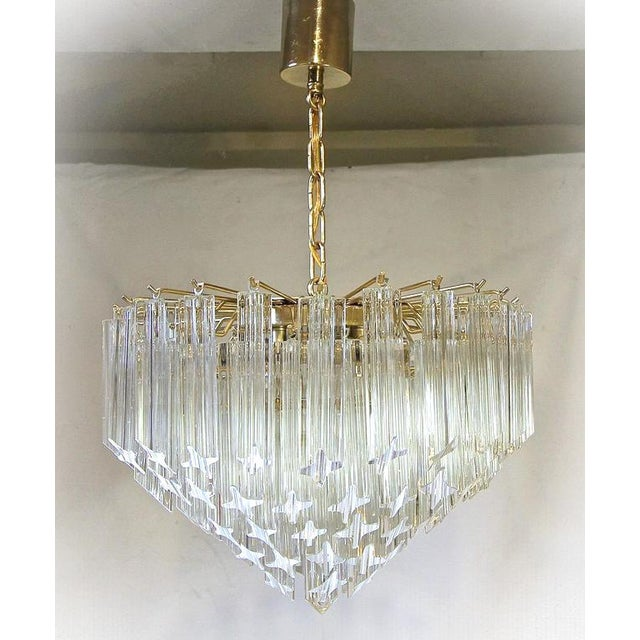 1970s 1970s Italian Quatro Punta Crystal Prism Chandelier For Sale - Image 5 of 10