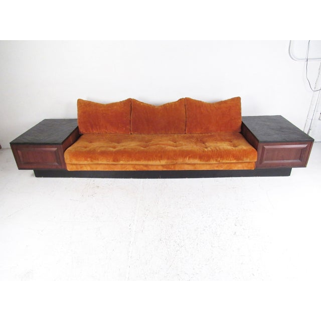 Prime Oversized Mid Century Sofa With Slate Top End Tables Chairish Pdpeps Interior Chair Design Pdpepsorg