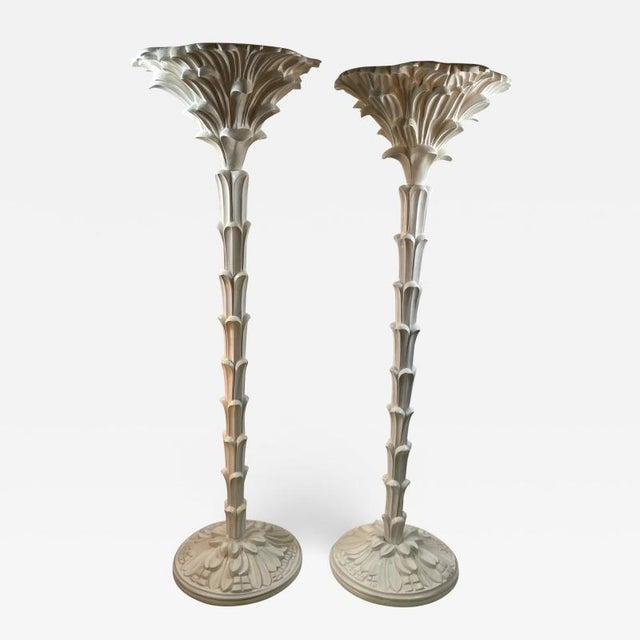 Exceptional Pair of Carved Wood Floor Lamps in the Manner of Serge Roche For Sale - Image 11 of 11
