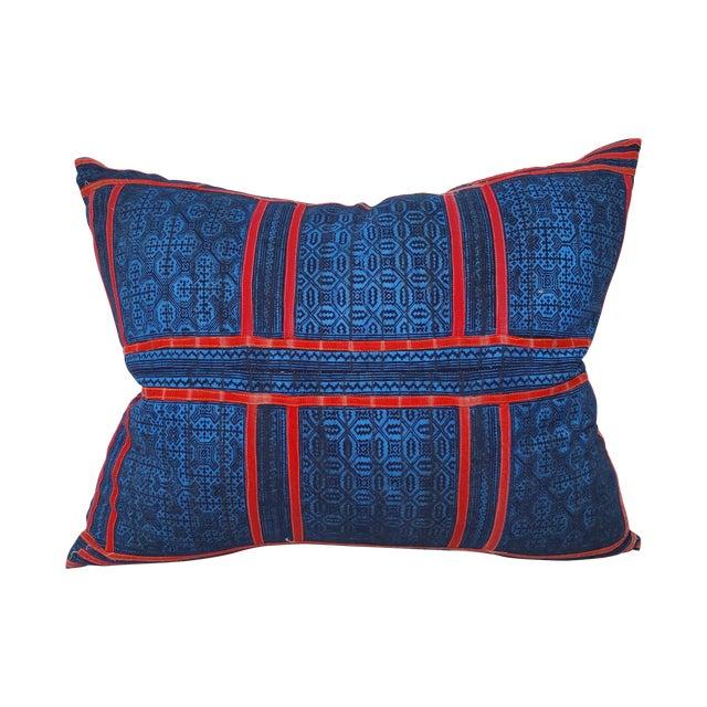 Blue & Red Tribal Appliqued Batik Pillow For Sale