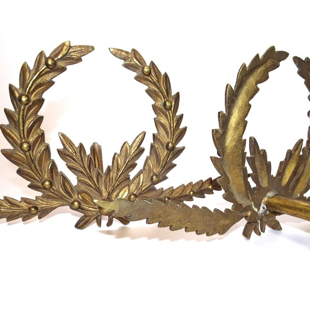 A Pair of Antique French Brass Drapery Rod Holders With Garland Design For Sale - Image 4 of 7