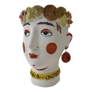 Spanish Terra Cotta Face Pot For Sale