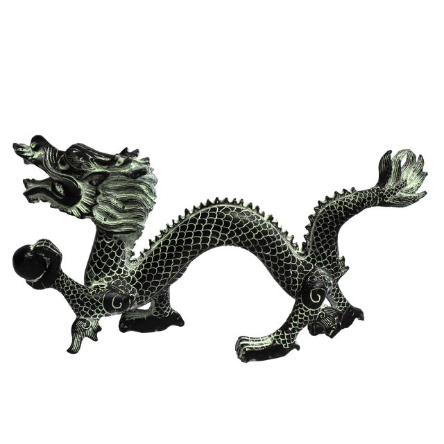 """Bronze Dragon With Fire Ball 11.5"""" Wide For Sale"""