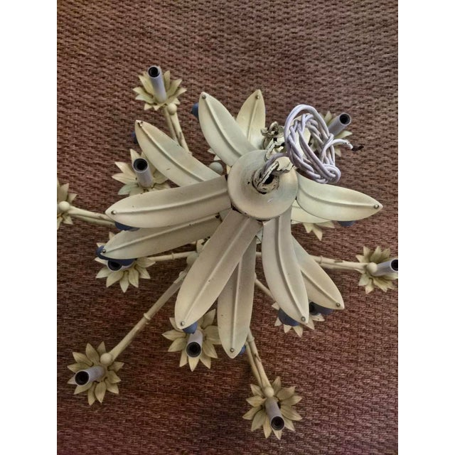 1950s Light Yellow Hollywood Regency Pagoda Style Chandelier With Blue Tassels and Floral Details For Sale - Image 5 of 6