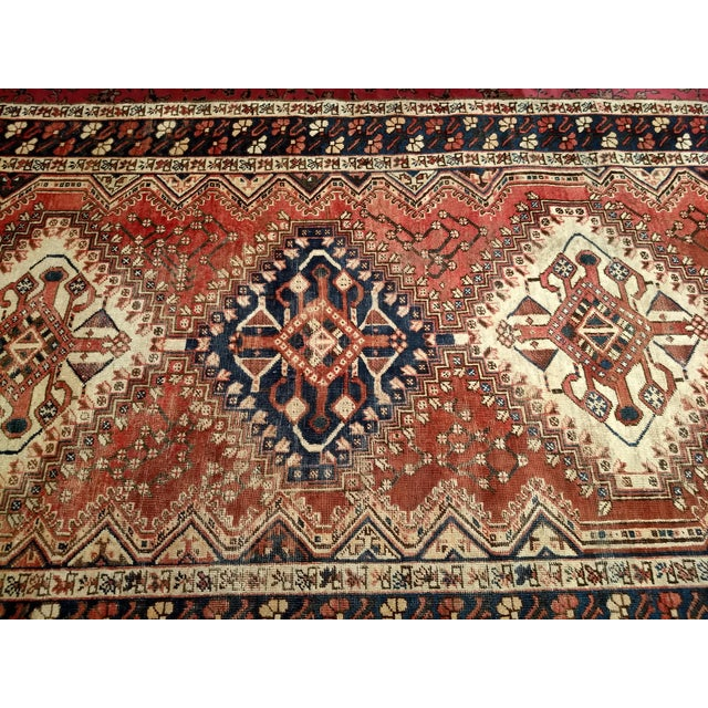 1940s 1940s Vintage Persian Shiraz Tribal Carpet - 5′2″ × 10′1″ For Sale - Image 5 of 9