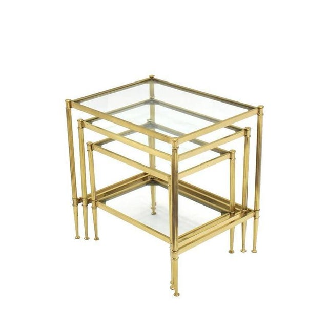 Mid-Century Modern Set of Three Mid-Century Modern Brass Nesting End Tables For Sale - Image 3 of 9