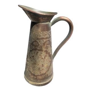 Antique 1800s Ornate Copper Pitcher For Sale