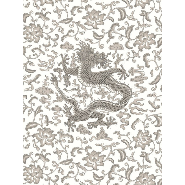 Transitional Red by Scalamandre Peel & Stick Wallpaper, Chi'en Dragon, Grey For Sale - Image 3 of 3