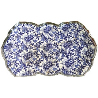 Blue and White Floral Tray For Sale
