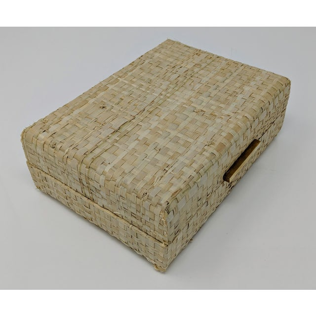 Gold Ralph Lauren Inspired Woven Straw Keepsake Box With Brass Hardware For Sale - Image 8 of 11
