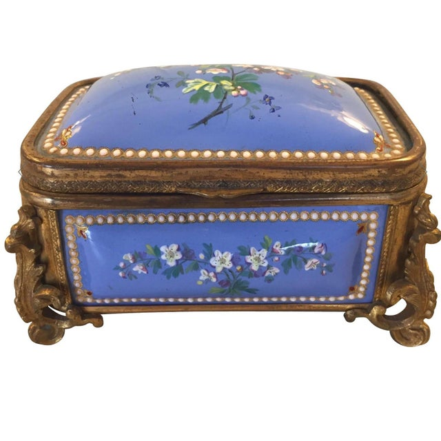 1885 Bronze Gilt and Hand Painted Enameled Cofferette For Sale - Image 12 of 12