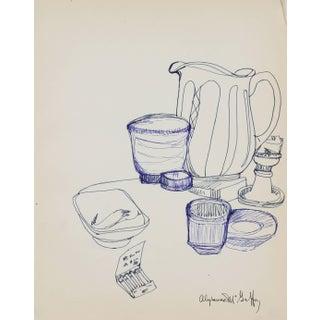 Alysanne McGaffey Kitchen Still Life in Blue Ink, Circa 1960s Preview