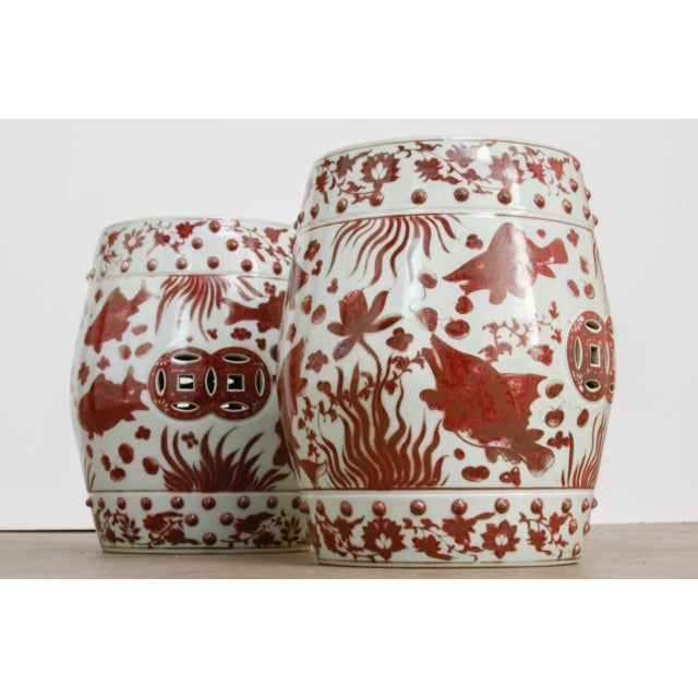 Asian Chinese Ceramic Aquatic Life Garden Stools or Drink Tables - a Pair For Sale - Image 3 of 13