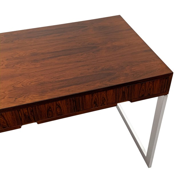 Milo Baughman Rosewood and Chrome Desk For Sale - Image 12 of 13