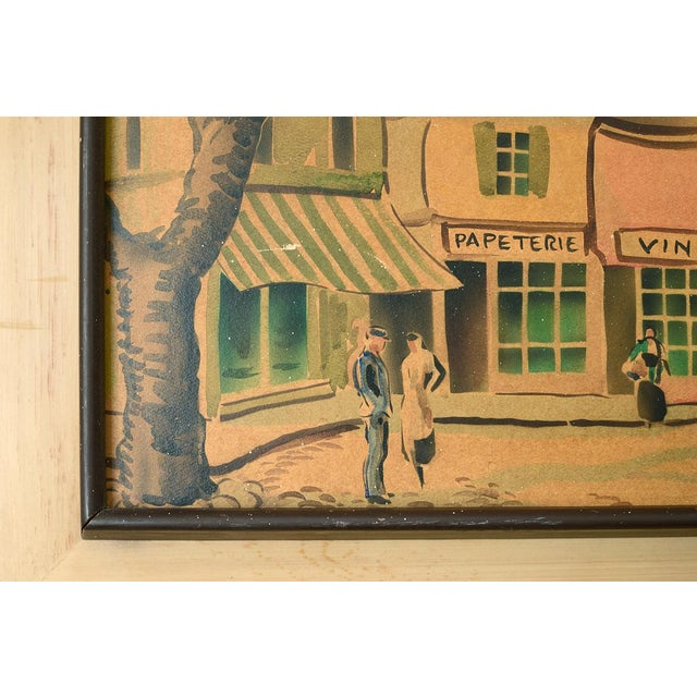 Vintage French Village Town Square Watercolor Painting For Sale In San Francisco - Image 6 of 10