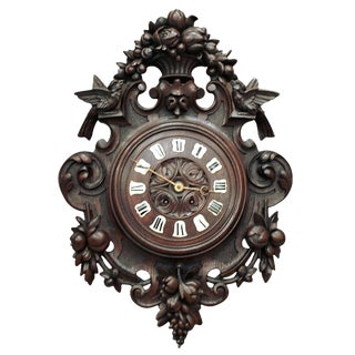 9th Century Carved Wood Louis XVI Wall Clock For Sale