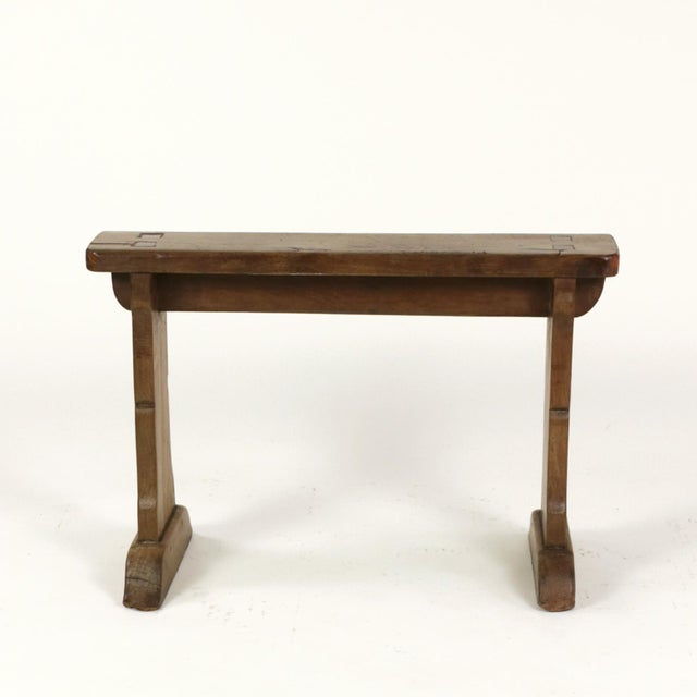 Narrow fruitwood bench, English circa 1880. height: 19 in. 48 cm., width: 28 in. 71 cm., depth: 13 in. 33 cm.