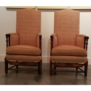Spanish Revival Carved Oak Lounge Chairs 1920's Preview