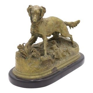 P.J. Mene Bronze Dog Figure Sculpture For Sale