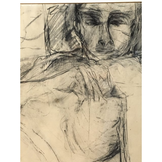Abstract Expressionism Vintage Original Charcoal Drawing of Male For Sale - Image 3 of 7