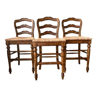 Vintage Country French Counter Stools- Set of 3 For Sale