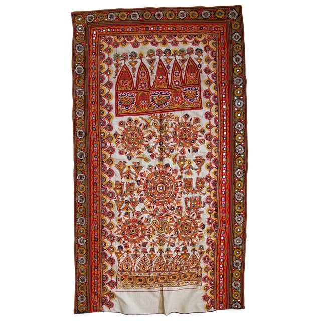 1950s Indian Embroidered Wall Tapestry For Sale