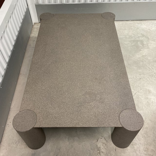 Paint Grey Postmodern Beveled Coffee Table With Thick Column Legs For Sale - Image 7 of 13