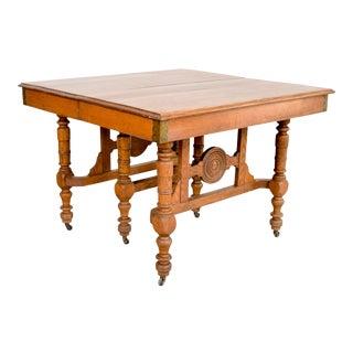 Antique Eastlake Victorian Oak Dining Table For Sale