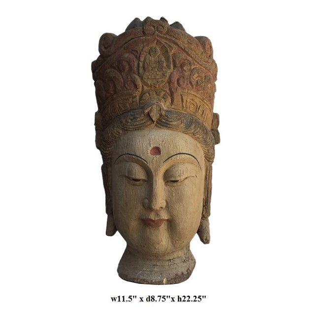 Chinese Rustic Wood Bodhisattva Head Statue - Image 2 of 5