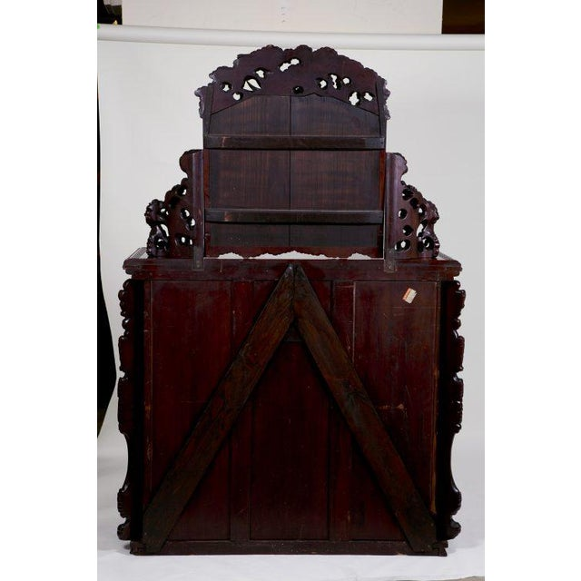 Brown Antique Japanese Carved Chest & Mirror For Sale - Image 8 of 9