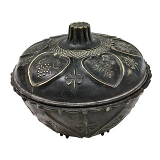 Antique Chinese Covered Brass Bowl For Sale