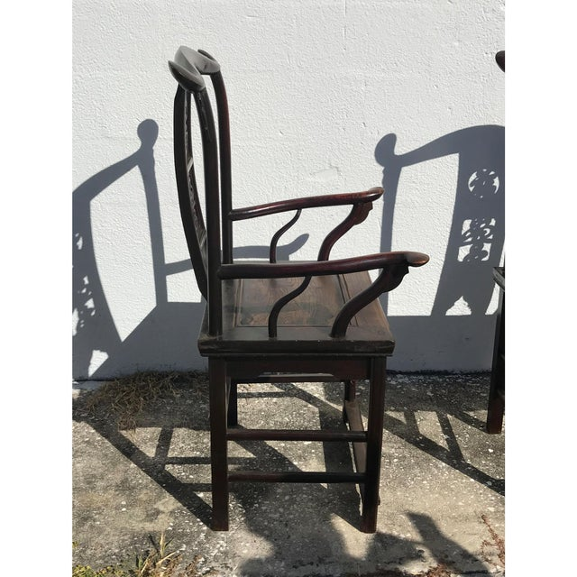"Antique Chinese Hardwood Armchairs height 21"". Hard to find, a pair."