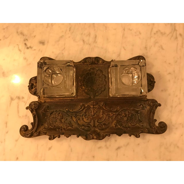 Late 19th Century Antique Gold Gilt, Cast Iron Double Inkwell, With Pen Tray For Sale - Image 5 of 7