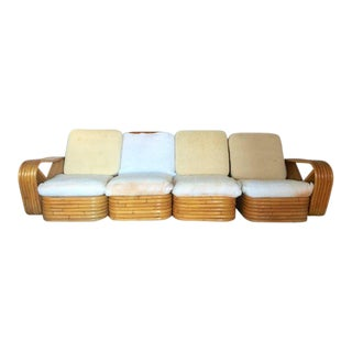 Paul Frankl Designed Rattan Reed Stack 4-Piece Sectional