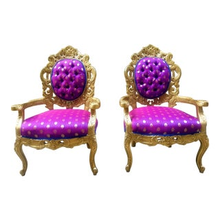 Victorian Gold and Purple Armchairs - a Pair For Sale