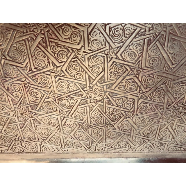 Spanish Moorish Rectangular Brass Tray For Sale - Image 10 of 12