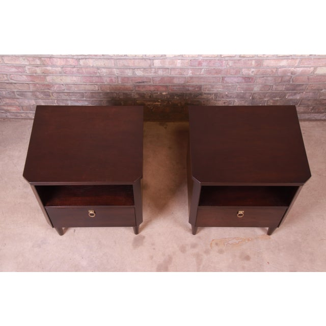 Robsjohn-Gibbings for Widdicomb Mid-Century Modern Walnut Nightstands, Newly Refinished For Sale In South Bend - Image 6 of 13