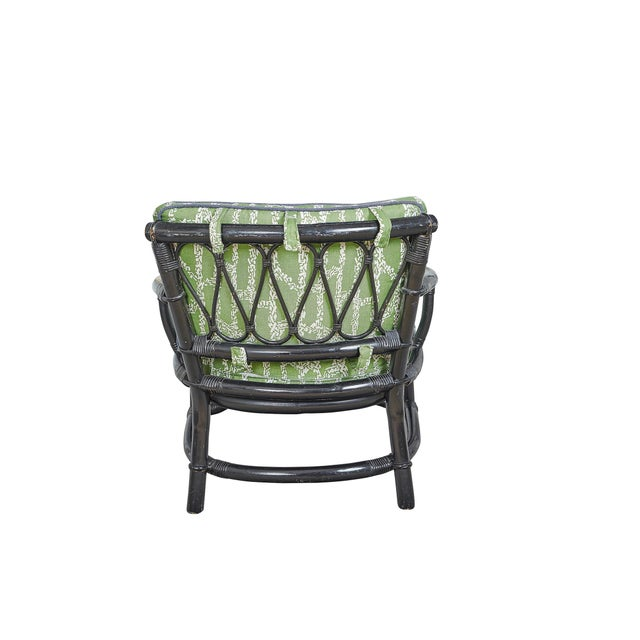 Vintage Bamboo Chair With Ferrick Mason's Espalier Reverse - Hedge Fabric For Sale - Image 4 of 7