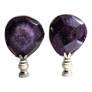 Faceted Amethyst Finials in Silver, Black Box Summer Collections by C. Damien Fox - a Pair For Sale