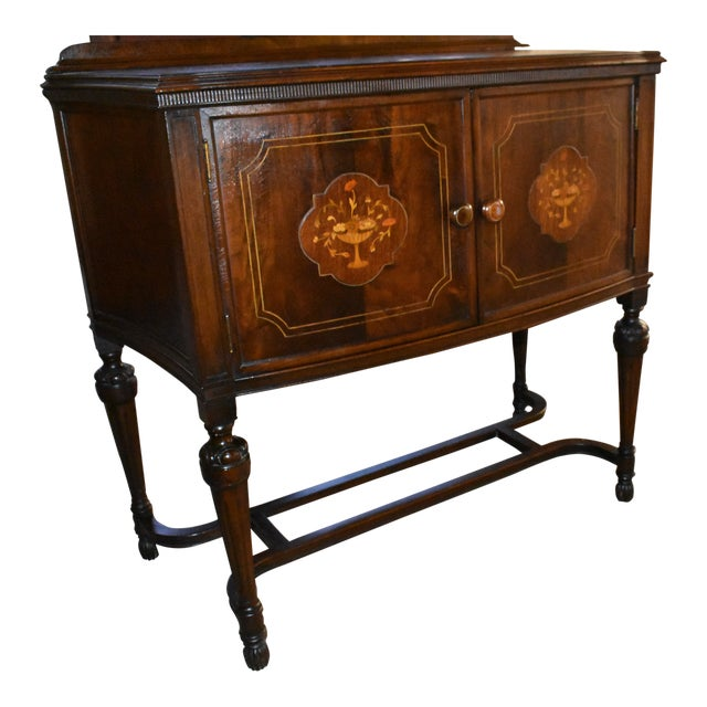 Antique Walnut Cabinet Dining Room Credenza With Decorative Wood Inlay