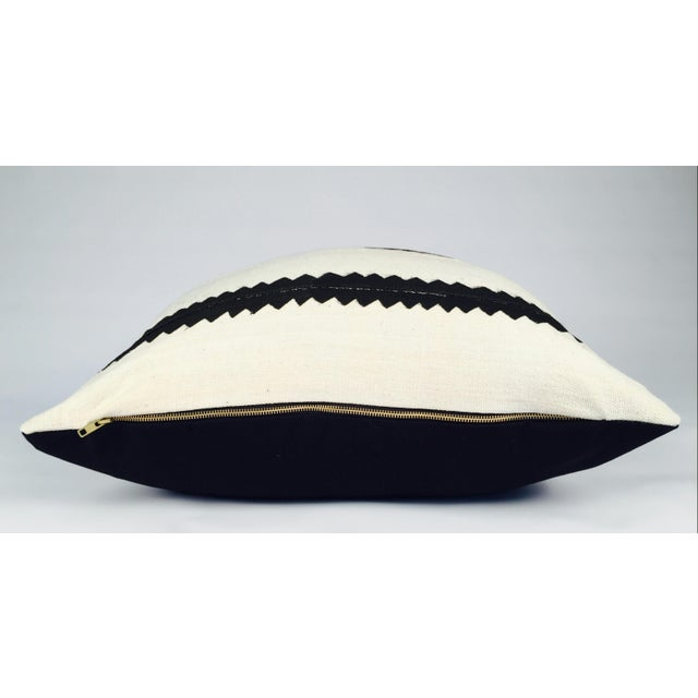 White and Black Striped Mudcloth Pillow - Image 5 of 5