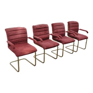 Chromcraft Brass Cantilever Chairs - Set of 4