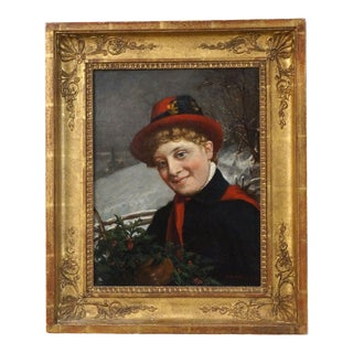 "1864 ""Enjoying Winter"" Oil Painting on Canvas Signed/Dated by Charles v. Brown For Sale"
