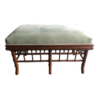 1950s Vintage Faux Bamboo Bench For Sale
