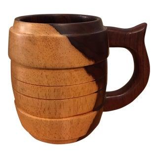 Carved Wood Stein Mug