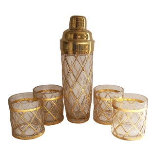 Altuzarra Gold Lattice Martini Cocktail Shaker and Lowball Glasses Barware Set - Five Pieces For Sale