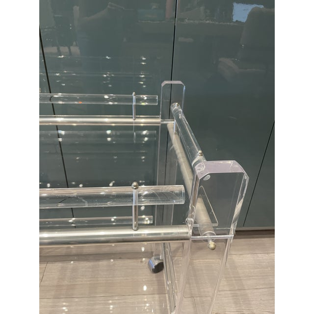 Hollis Jones Two-Tier Lucite Bar Cart With Removable Trays For Sale In Los Angeles - Image 6 of 11