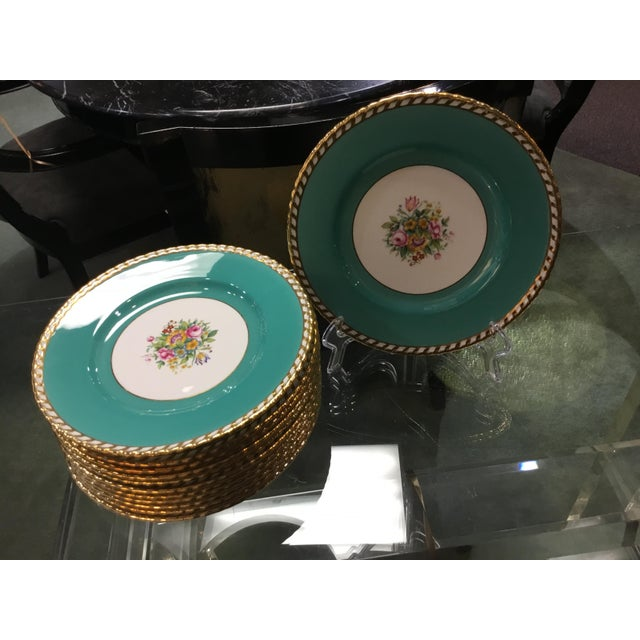 This is a circa 1930 set of 12 Minton turquoise plates. These pieces are hard to find and feature intense color with gold...
