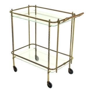Brass Tube Frame and Glass Rectangular Tea Bar Cart For Sale