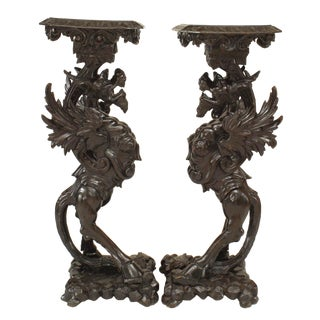 19th Century Italian Walnut Winged Griffin Pedestals-a Pair For Sale